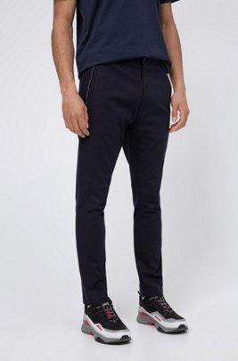 Slim-fit broek in stretchbouclé met ritsdetails, Donkerblauw