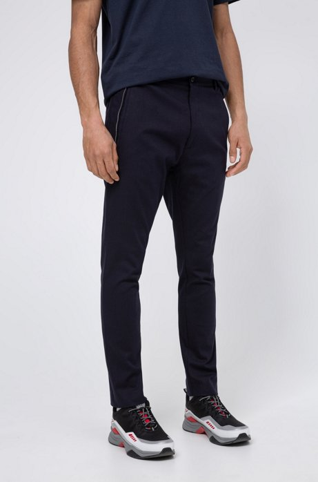 Slim-fit trousers in stretch bouclé with zip trims, Dark Blue