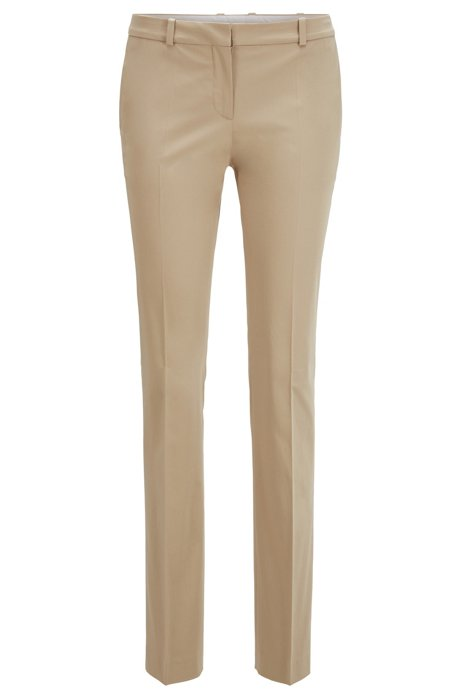 Regular-fit trousers in stretch-cotton satin, Beige