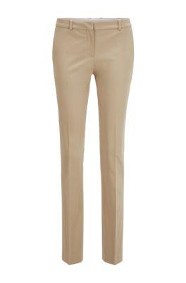 Regular-Fit Hose aus Stretch-Baumwolle mit Satin-Finish, Beige