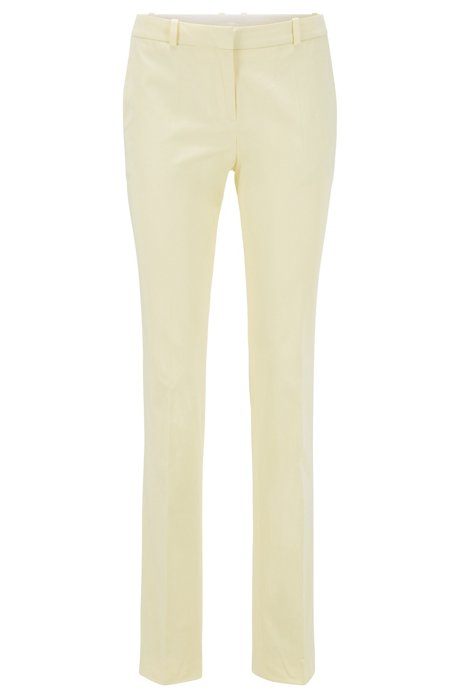 Regular-fit trousers in stretch-cotton satin, Light Yellow