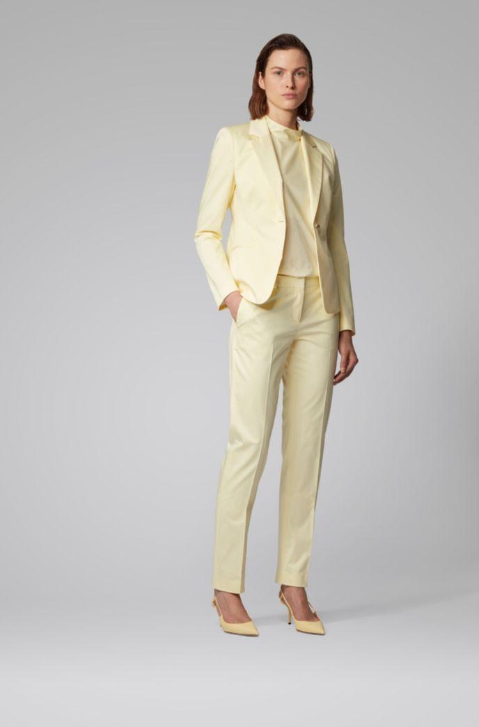 Pantaloni regular fit in satin di cotone elasticizzato