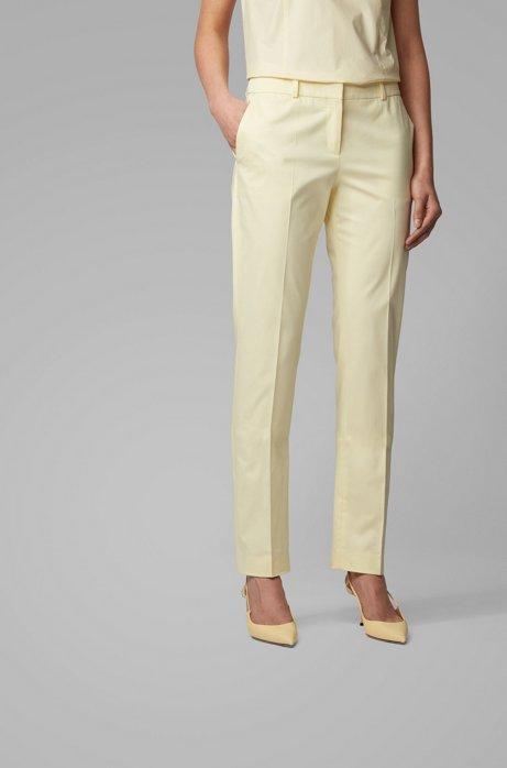 Pantaloni regular fit in satin di cotone elasticizzato, Giallo chiaro