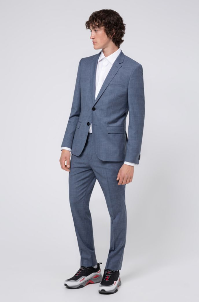 Pantalon Extra Slim Fit en laine vierge à carreaux