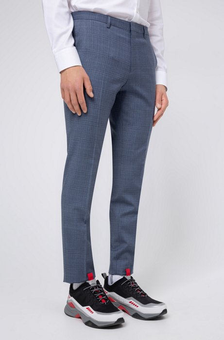 Extra-slim-fit trousers in checked virgin wool, Turquoise