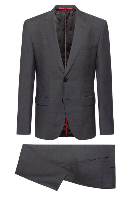 Regular-fit suit in a virgin-wool blend, Anthracite