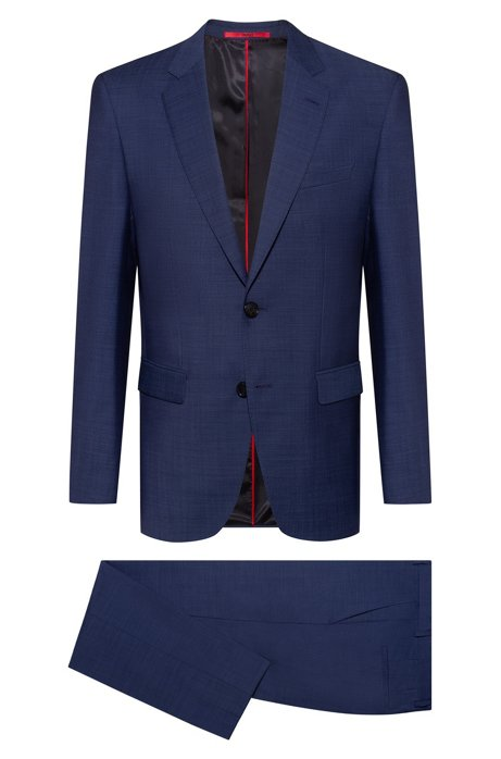 Regular-fit suit in a virgin-wool blend, Dark Blue