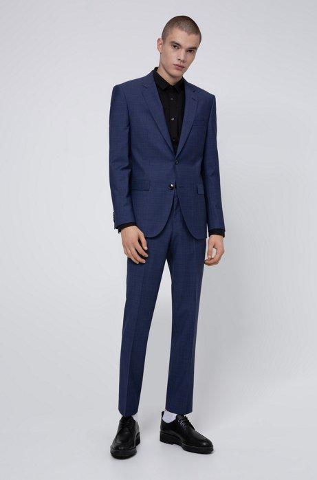 Costume Regular Fit en laine vierge mélangée, Bleu foncé