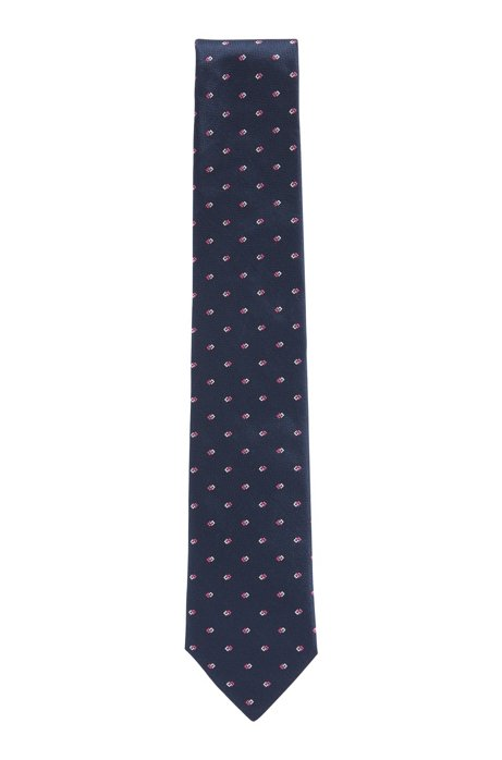 All-over patterned tie in silk jacquard, Dark Blue