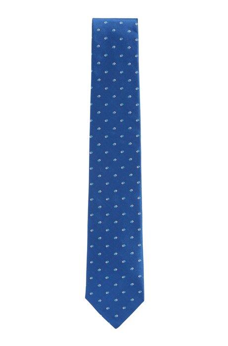 Corbata de jacquard de seda con estampado integral, Azul