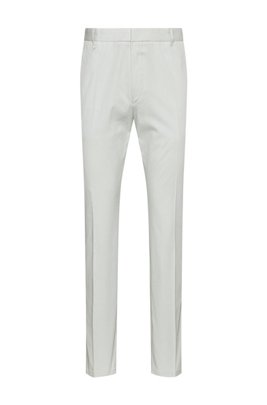 Extra-slim-fit stretch-cotton trousers with belt loops, White