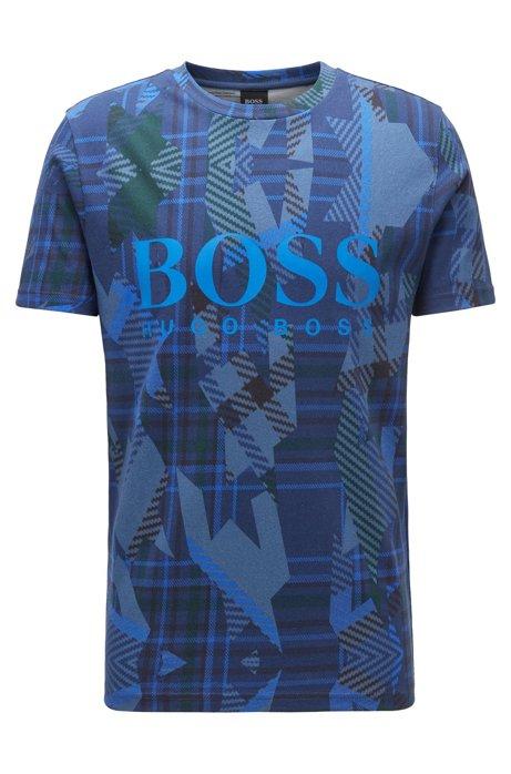 T-Shirt aus Baumwolle mit Algorithmus-Print und Logo, Dunkelblau
