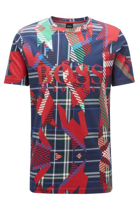 Logo-T-shirt van katoen met all-over algoritmeprint, Rood