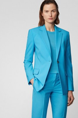 Slim-fit jacket in traceable stretch virgin wool, Turquoise