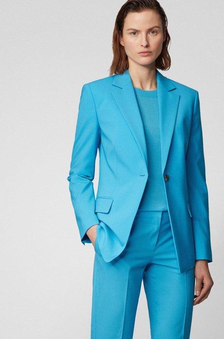Veste Slim Fit en laine vierge stretch traçable, Turquoise