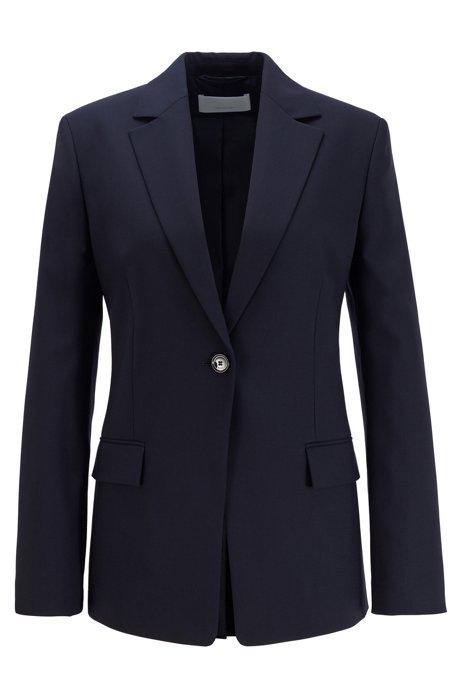 Slim-fit jacket in traceable stretch virgin wool, Dark Blue