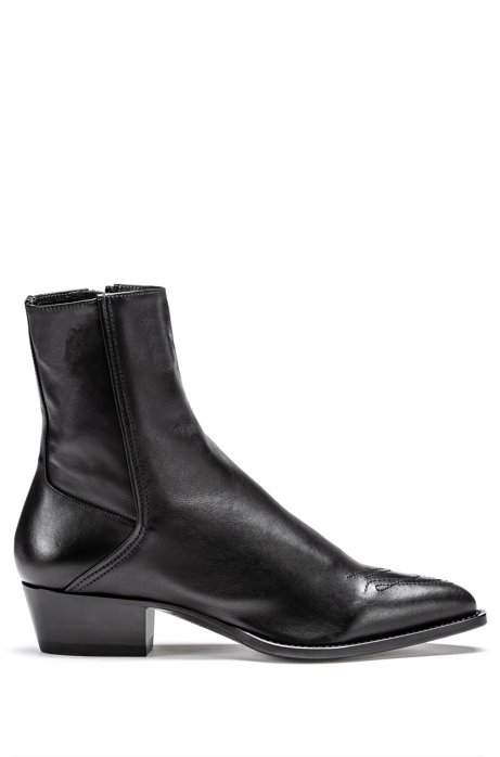 Italian-leather boots with Cuban heel and tonal stitching, Black