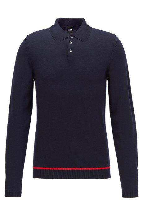 Long-sleeved polo shirt in virgin wool, Dark Blue