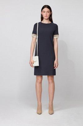 Short-sleeved dress with colour-block trims, Light Blue