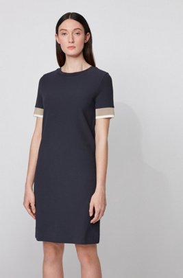 Short-sleeved dress with colour-block trims, Light Blue