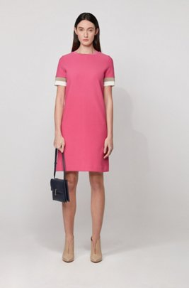 Short-sleeved dress with colour-block trims, Pink