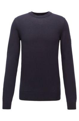 Maglione a girocollo in cotone con logo gommato, Blu scuro