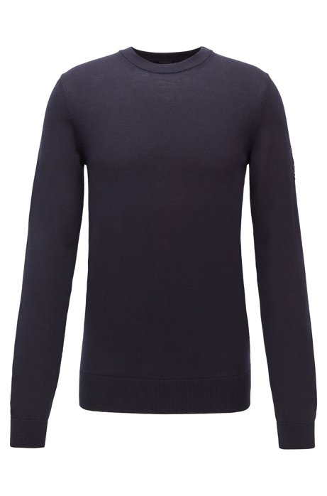Crew-neck sweater in cotton with rubberised logo, Dark Blue