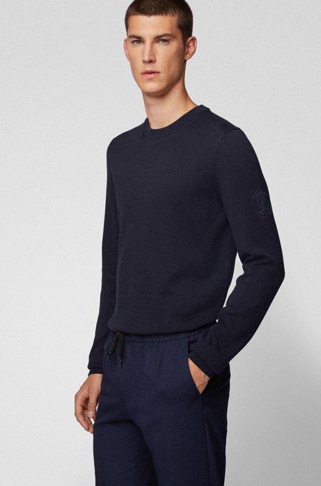 Pull à col rond en coton avec logo gommé, Bleu foncé