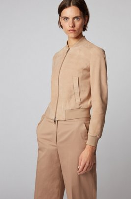 Blouson-style suede jacket with monogram-print lining, Beige