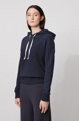 Relaxed-fit hoodie with logo print, Dark Blue
