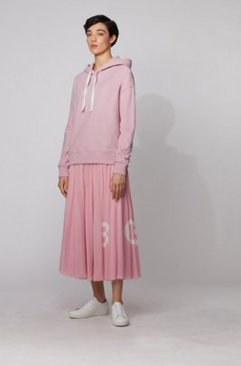 Relaxed-fit hoodie with logo print, Pink