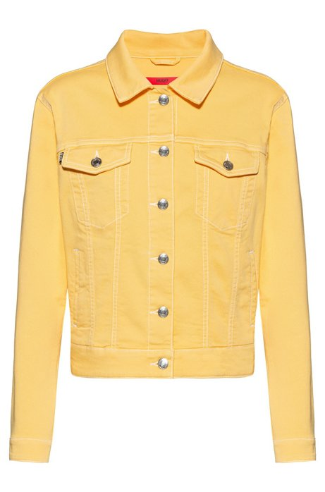 Slim-fit jacket in coloured stretch denim, Light Yellow