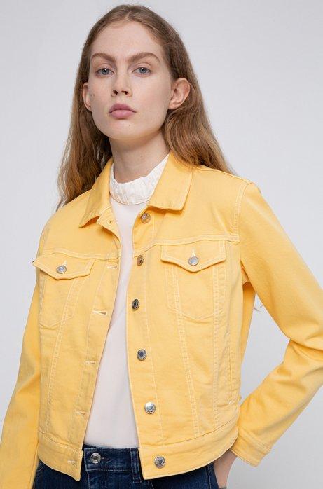 Slim-Fit Jacke aus farbigem Stretch-Denim, Hellgelb