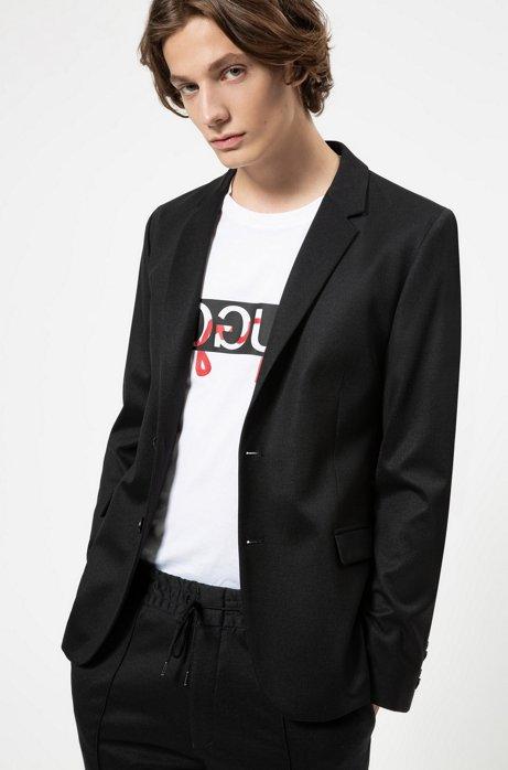 Veste Slim Fit en jersey stretch à micro carreaux, Noir
