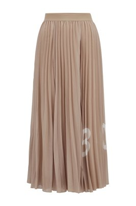 Logo-print plissé maxi skirt with elasticated waistband, Beige