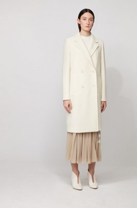 Logo-print plissé maxi skirt with elasticated waistband, Beige