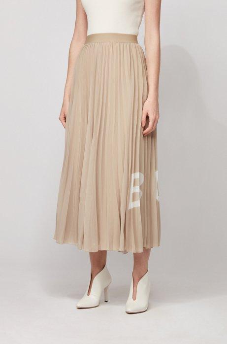 Jupe longue plissée à taille élastique et logo imprimé, Beige