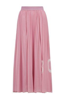 Falda maxi plisada con estampado de logo y cintura elástica, Luz púrpura