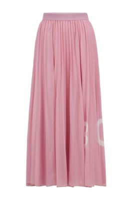 Logo-print plissé maxi skirt with elasticated waistband, Light Purple