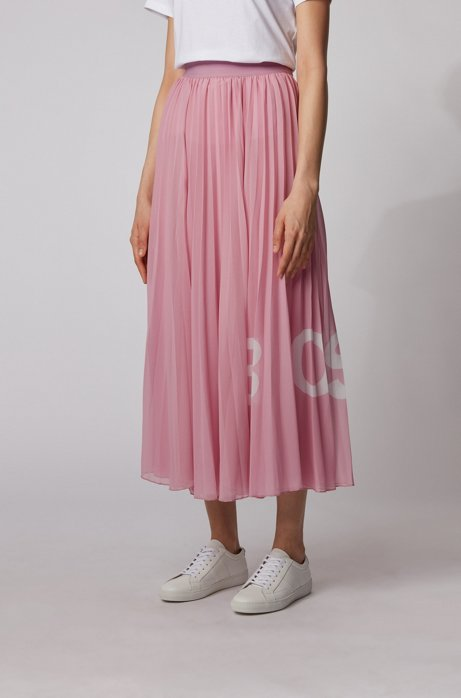 Jupe longue plissée à taille élastique et logo imprimé, Violet clair
