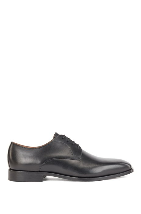 Derby shoes in polished leather, Black
