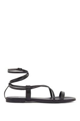 Romeinse sandalen van nappaleer, Zwart