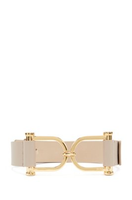 Italian-made belt in leather with feature buckle, Beige