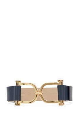 Cintura realizzata in Italia in pelle con fibbia originale, Blu scuro