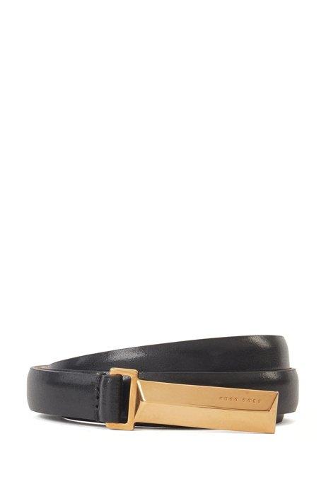 Cintura in pelle italiana con dettagli in metallo tipici del marchio, Nero