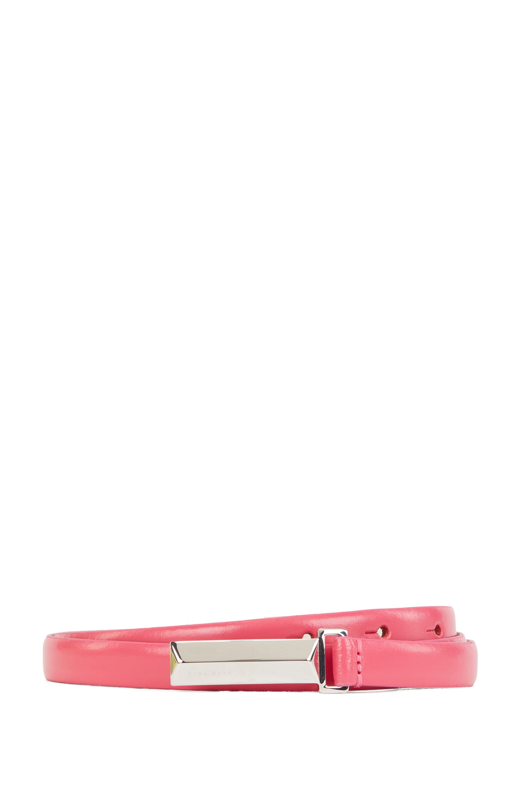 Cinturón de piel italiana con herrajes de la marca, Pink