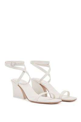 Block-heel sandals in nappa leather with ankle strap, White