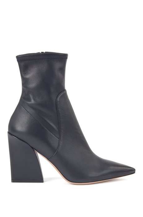 High-heeled boots in nappa leather with pointed toe, Dark Blue