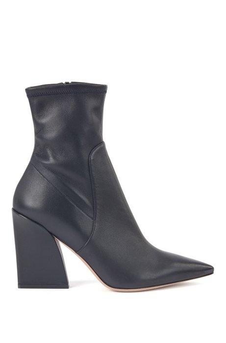 Laarzen van nappaleer met hoge hak en spitse neus, Donkerblauw