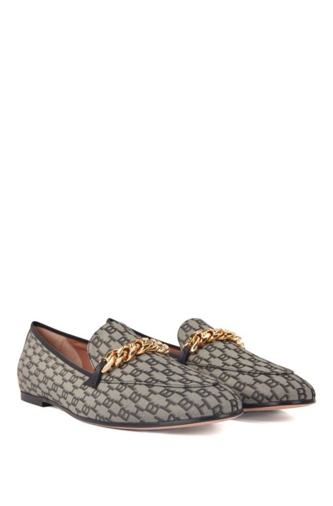 Monogram-fabric loafers with gold chain and leather trims